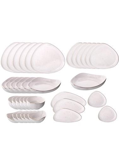 Galeri Kristal Asimetrik 6 Kişilik-36 Parça Yemek/Kahvaltı Takımı Renkli